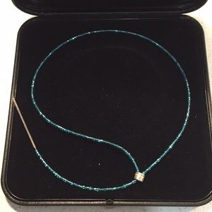 Dyrberg Kern turquoise sparkle lariat necklace
